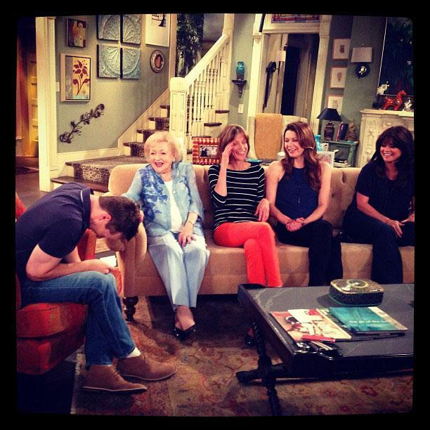 """Cracking up executive producer Sean Hayes during our interview... Not hard to do! With Wendie Malick, Jane Leeves and Valerie Bertinelli."""