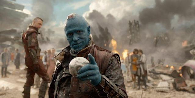 Yondu (Michael Rooker) felt betrayed by the kid he raised, Star-Lord, when Star-Lord tried to steal the orb from him. (Photo: Film Frame Marvel)
