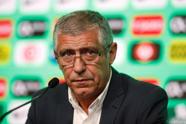 Soccer Football - FIFA World Cup - Portugal Coach Fernando Santos Press Conference- Oeiras, Portugal - May 17, 2018 Portugal Coach Fernando Santos during the press conference REUTERS/Pedro Nunes