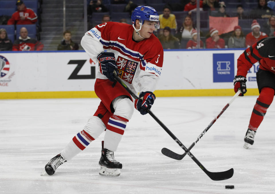 Defenseman Libor Hajek, pictured playing for theCzech Republic, was apparently the player the Rangers insisted on as part of the return for Ryan McDonagh and J.T. Miller. (AP Photo/Jeffrey T. Barnes)