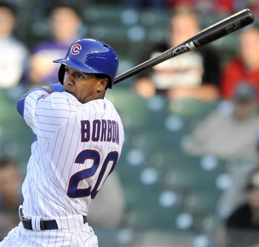 Chicago Cubs' Julio Borbon watches his walkoff-single to defeat the Cincinnati Reds 6-5 in fourteen innings of an MLB baseball game in Chicago, Thursday, June 13, 2013. (AP Photo/Paul Beaty)