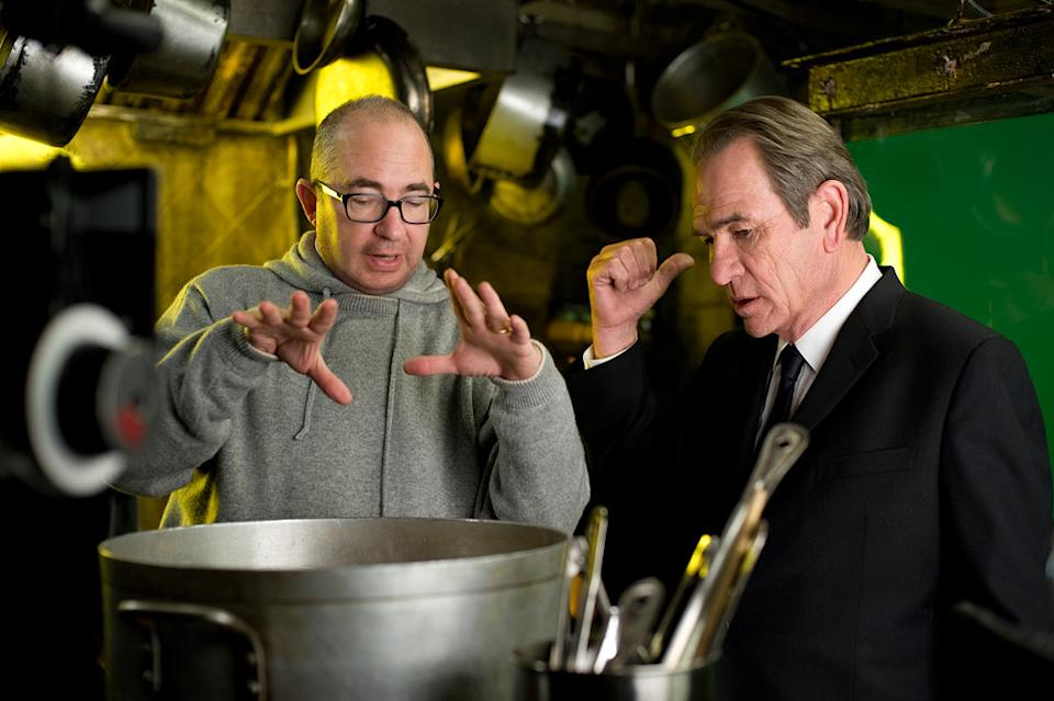 """Barry Sonnenfeld and Tommy Lee Jones on the set of Columbia Pictures' """"Men in Black 3"""" - 2012"""
