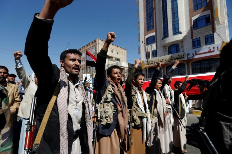 Yemenis take part in a demonstration in November 2017 calling to lift the Saudi-led coalition's blockade after the coalition shut down Yemen's borders in response to a missile attack by Huthi rebels that was intercepted near Riyadh airport