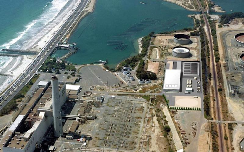 This image provided by the San Diego County Water Authority shows an artist rendering of a proposed desalination plant, center right, superimposed over an aerial photograph, in Carlsbad, Calif.  The proposed plant will be the Western Hemisphere's largest desalination plant. (AP Photo/San Diego County Water Authority)