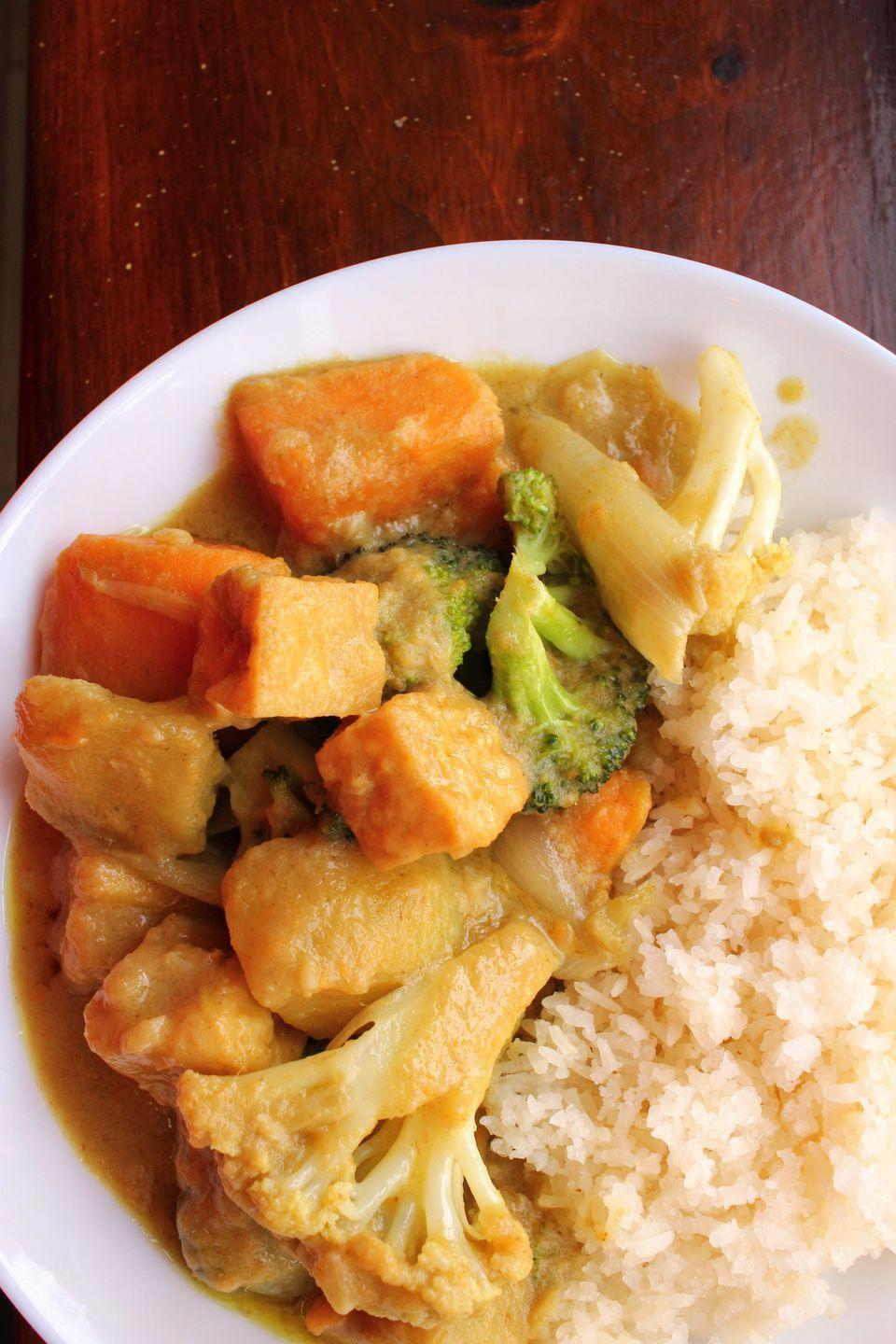 """<p>For this vegan curry, we went for ease, so that you can whip it up in under an hour for a fuss-free weeknight dinner.</p><p>Get the recipe from <a href=""""https://www.delish.com/cooking/recipe-ideas/a35059425/vegan-curry-recipe/"""" rel=""""nofollow noopener"""" target=""""_blank"""" data-ylk=""""slk:Delish"""" class=""""link rapid-noclick-resp"""">Delish</a>.</p>"""