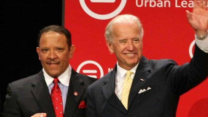 In this 2009 photo, National Urban League President Marc H. Morial and Vice President Joe R. Biden are shown at the National Urban League Conference in Chicago. (Photo by Tasos Katopodis/Getty Images for National Urban League)