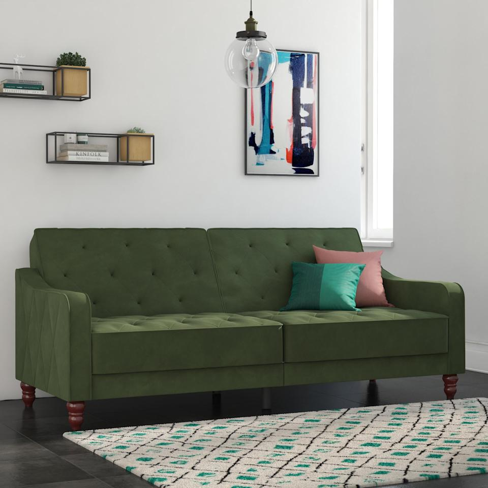 """<p>This <a href=""""https://www.popsugar.com/buy/Novogratz-Vintage-Tufted-Velvet-Split-Back-Futon-414987?p_name=Novogratz%20Vintage%20Tufted%20Velvet%20Split%20Back%20Futon&retailer=walmart.com&pid=414987&price=349&evar1=casa%3Aus&evar9=45974840&evar98=https%3A%2F%2Fwww.popsugar.com%2Fphoto-gallery%2F45974840%2Fimage%2F45974922%2FNovogratz-Vintage-Tufted-Velvet-Split-Back-Futon&list1=shopping%2Cfurniture%2Cwalmart%2Csofas%2Cliving%20rooms%2Chome%20shopping&prop13=api&pdata=1"""" rel=""""nofollow"""" data-shoppable-link=""""1"""" target=""""_blank"""" class=""""ga-track"""" data-ga-category=""""Related"""" data-ga-label=""""https://www.walmart.com/ip/Novogratz-Vintage-Tufted-Velvet-Split-Back-Futon-Multiple-Colors/624300620?selected=true"""" data-ga-action=""""In-Line Links"""">Novogratz Vintage Tufted Velvet Split Back Futon</a> ($349) comes in many different colors, but we love it in this fun mint green shade.</p>"""