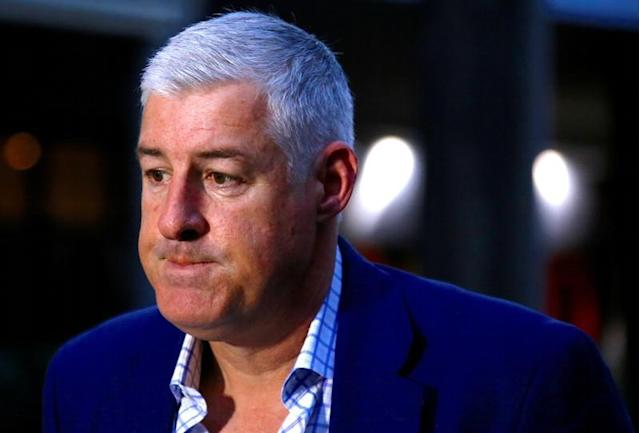 FILE PHOTO: Australian Rugby Union (ARU) chairman Cameron Clyne reacts as he listens to questions after an emergency general meeting at ARU headquarters in Sydney
