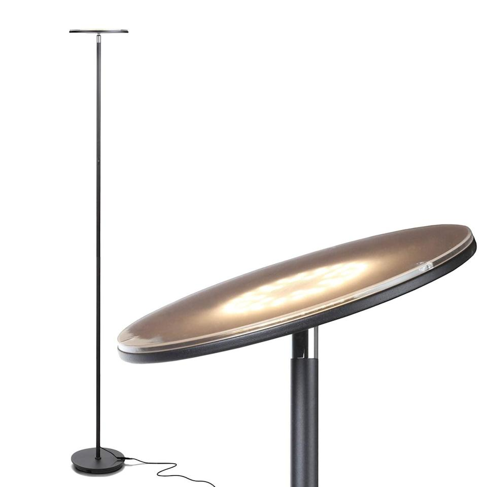<p>I have this <span>Brightech Sky LED Torchiere Super Bright Floor Lamp</span> ($60, originally $66), and it's amazing. It has three settings, so you can choose your level of brightness, and it's so minimal, it can be placed anywhere.</p>