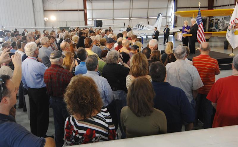 Republican presidential candidate Newt Gingrich speaks during a rally in a hangar at the Lake in the Hills Airport, Thursday, March 15, 2012 in Lake in the Hills, Ill. (AP Photo/Daily Herald, John Starks) MANDATORY CREDIT; MAGS OUT; TV OUT