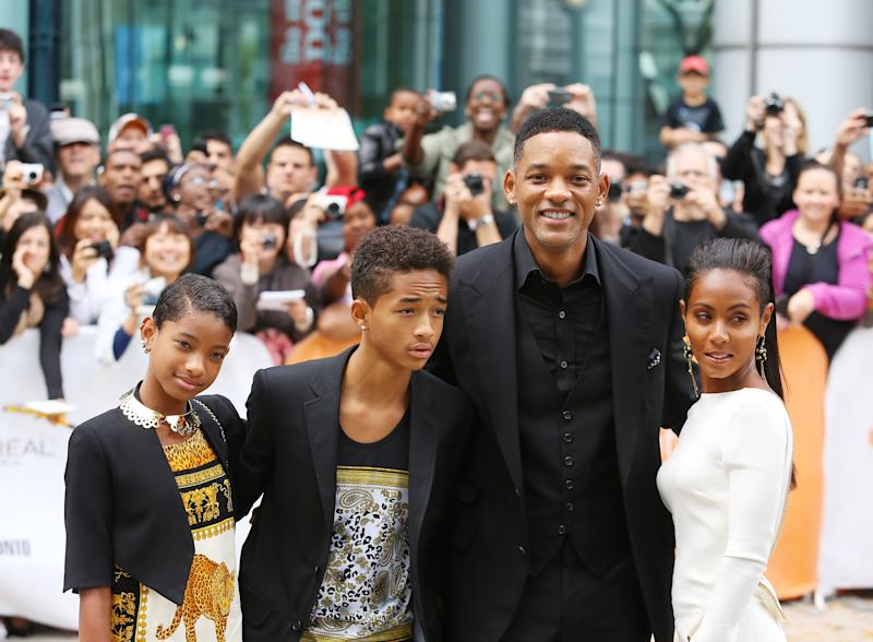 "TORONTO, ON - SEPTEMBER 09: (L-R) Willow Smith, Jaden Smith, Will Smith and Jada Pinkett Smith arrive at ""Free Angela & All Political Prisoners"" premiere during the 2012 Toronto International Film Festival held at Roy Thomson Hall on September 9, 2012 in Toronto, Canada. (Photo by Michael Tran/FilmMagic)"
