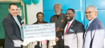 From left: Victor Taliaferrow, Crown Heights Branch Manager, Carver; Veda Davis, Retail District Manager, Carver; Richard Green, Chief Executive, Crown Heights Youth Collective; Michael T. Pugh, President and CEO Carver; and Niles Stewart, Head of Business Banking, Carver