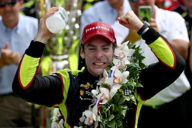 France's Simon Pagenaud celebrates his victory in the 103rd Indianapolis 500