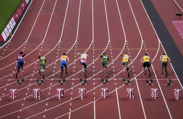 The start line for the men's 100m T64 round 1, heat 2 at the Paralympics in Tokyo