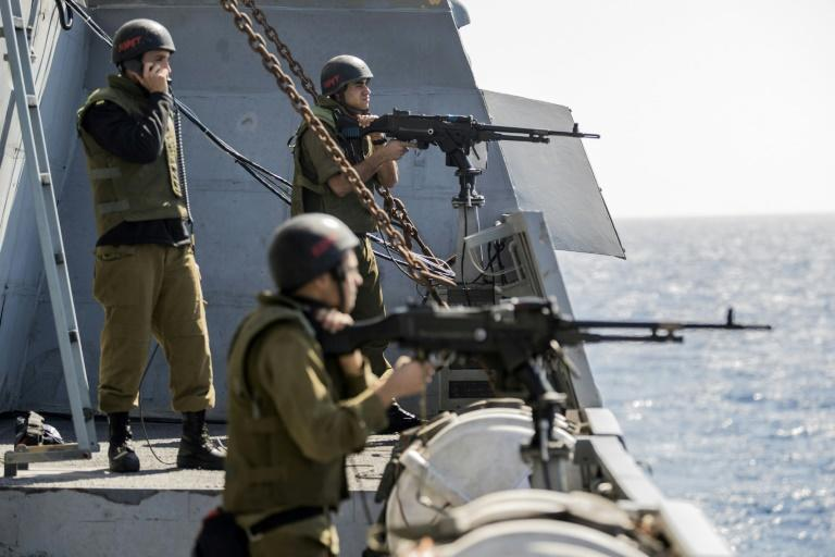 "Israeli soldiers onboard the corvette INS Hanit take part in the ""Novel Dina 17"" training session in the Mediterranean Sea on April 4, 2017. Israel's navy had historically been one of the smaller and less well-known parts of its military"