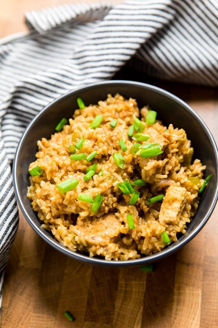 """<p>A healthier spin on the Southern classic, this dirty rice recipe still has the cajun flavors that you love, just without any of the bad-for-you ingredients. And the best part is, the Instant Pot does all the hard work, so all you have to do is sit back, relax, and eat up! </p> <p><strong>Get the recipe</strong>: <a href=""""https://makeitdairyfree.com/instant-pot-vegan-dirty-rice/"""" class=""""link rapid-noclick-resp"""" rel=""""nofollow noopener"""" target=""""_blank"""" data-ylk=""""slk:Instant Pot vegan dirty rice"""">Instant Pot vegan dirty rice</a></p>"""
