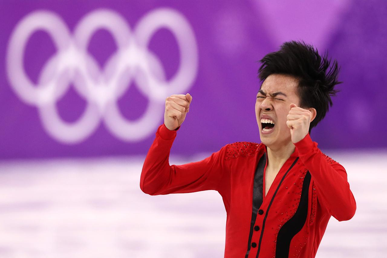 <p>American Vincent Zhou became the first skater to land a quad lutz at an Olympics in PyeongChang, South Korea. </p>