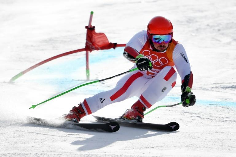 Hirscher leads after the first run in the men's giant slalom at the Pyeongchang Winter Olympics on Sunday