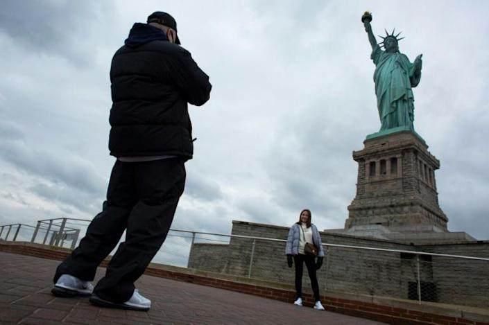 Visitors at the Statue of Liberty
