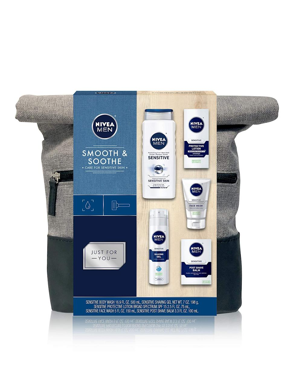 """<h3><a href=""""https://amzn.to/36as7Tt"""" rel=""""nofollow noopener"""" target=""""_blank"""" data-ylk=""""slk:Nivea Men Dapper Duffel Gift Set"""" class=""""link rapid-noclick-resp"""">Nivea Men Dapper Duffel Gift Set</a></h3><br>This Amazon Prime gem includes everything a man needs to take care of his skin from H2T: Shaving gel, post-shave balm, cleanser, lotion, and even a full-size shower gel.<br><br><strong>Nivea</strong> Men Dapper Duffel Gift Set - 5 Piece Collection, $, available at <a href=""""https://amzn.to/3kVCjGI"""" rel=""""nofollow noopener"""" target=""""_blank"""" data-ylk=""""slk:Amazon"""" class=""""link rapid-noclick-resp"""">Amazon</a>"""