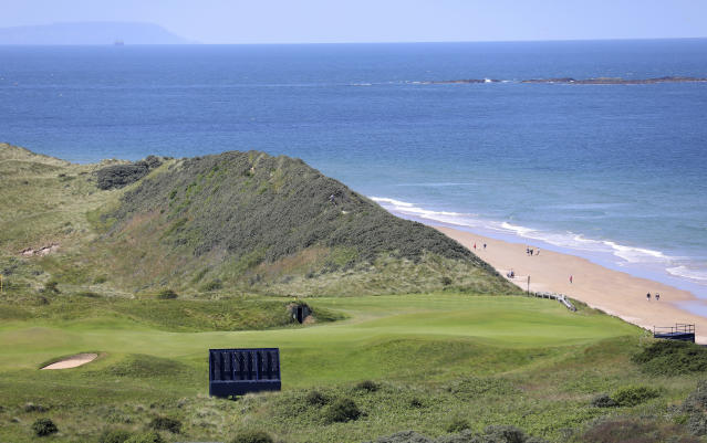 The 5th hole on the Dunluce Links course at Royal Portrush Golf Club, Northern Ireland, Saturday, July 6 2019. The Open Golf Championship will be played at Royal Portrush marking a historic return to Northern Ireland after it was last played there in 1951. (AP Photo/Peter Morrison)