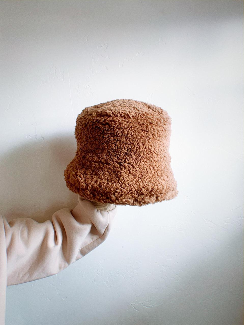<p>You can't go wrong with this <span>Teddy Bucket Hat</span> ($50). It's a fail-safe winter layer.</p>