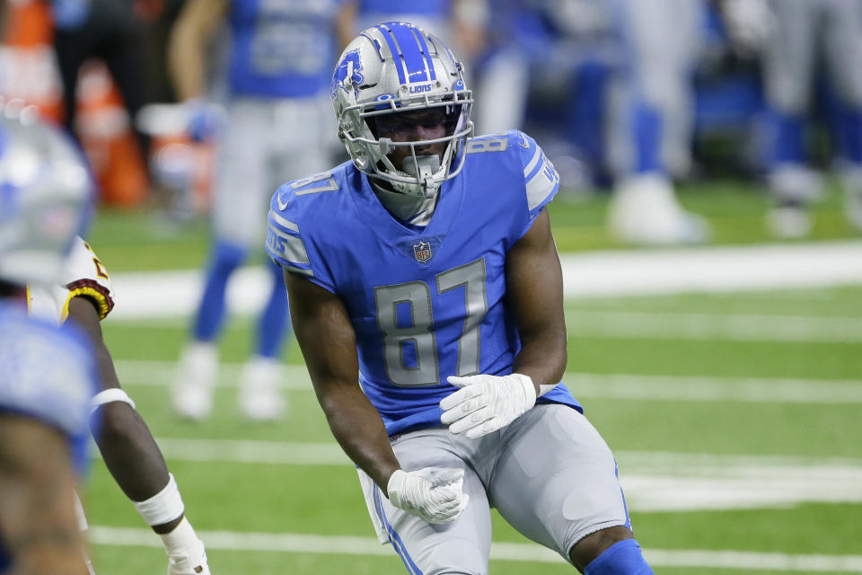 FILE - In this Sunday, Nov. 15, 2020 file photo, Detroit Lions wide receiver Quintez Cephus (87) plays against the Washington Football Team during the first half of an NFL football game in Detroit. Former Wisconsin wide receiver Quintez Cephus said in a lawsuit filed Tuesday, Feb. 23, 2021 against the university that he was used as a scapegoat during a sexual assault investigation that resulted in his temporary expulsion.(AP Photo/Duane Burleson, File)