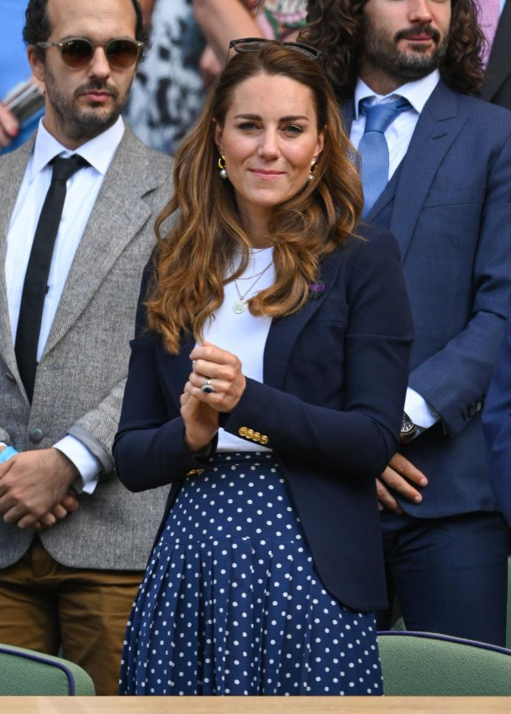 The Duchess of Cambridge sat in the Royal Box at Centre Court at Wimbledon. (Photo by Karwai Tang/WireImage)