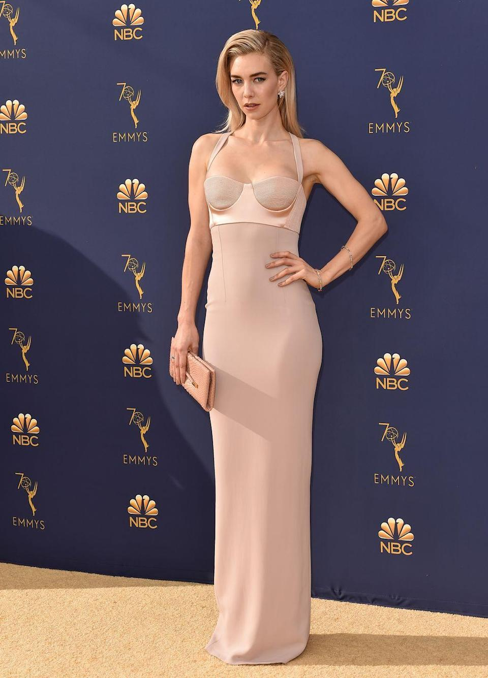<p>Kirby wears a silhouette-hugging blush Tom Ford gown to the 70th Emmy Awards.</p>