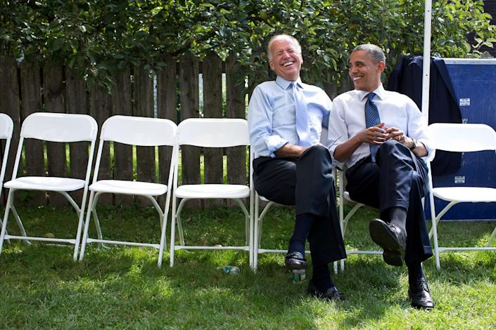"""President Obama and Vice President Biden share a laugh before an event at Strawbery Banke Museum in Portsmouth, N.H., Sept. 7, 2012. (Pete Souza / The White House) <br> <br> <a href=""""http://lightbox.time.com/2012/10/08/pete-souza-portrait-of-a-presidency/#1"""" rel=""""nofollow noopener"""" target=""""_blank"""" data-ylk=""""slk:Click here to see the full collection at TIME.com"""" class=""""link rapid-noclick-resp"""">Click here to see the full collection at TIME.com</a>"""