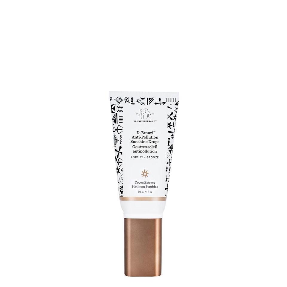 """<p><strong>Drunk Elephant</strong></p><p>sephora.com</p><p><strong>$36.00</strong></p><p><a href=""""https://go.redirectingat.com?id=74968X1596630&url=https%3A%2F%2Fwww.sephora.com%2Fproduct%2Fd-bronzi-tm-anti-pollution-sunshine-serum-P432668&sref=http%3A%2F%2Fwww.oprahmag.com%2Fbeauty%2Fskin-makeup%2Fg28261871%2Fbest-bronzer-for-dark-skin%2F"""" target=""""_blank"""">Shop Now</a></p><p>Bronze with benefits when you apply this bronzer-slash-serum. The formula is antioxidant rich—cocoa extract protects your skin against environmental stressors. On dark skin D-Bronzi imparts a subtle, warm glow.</p>"""