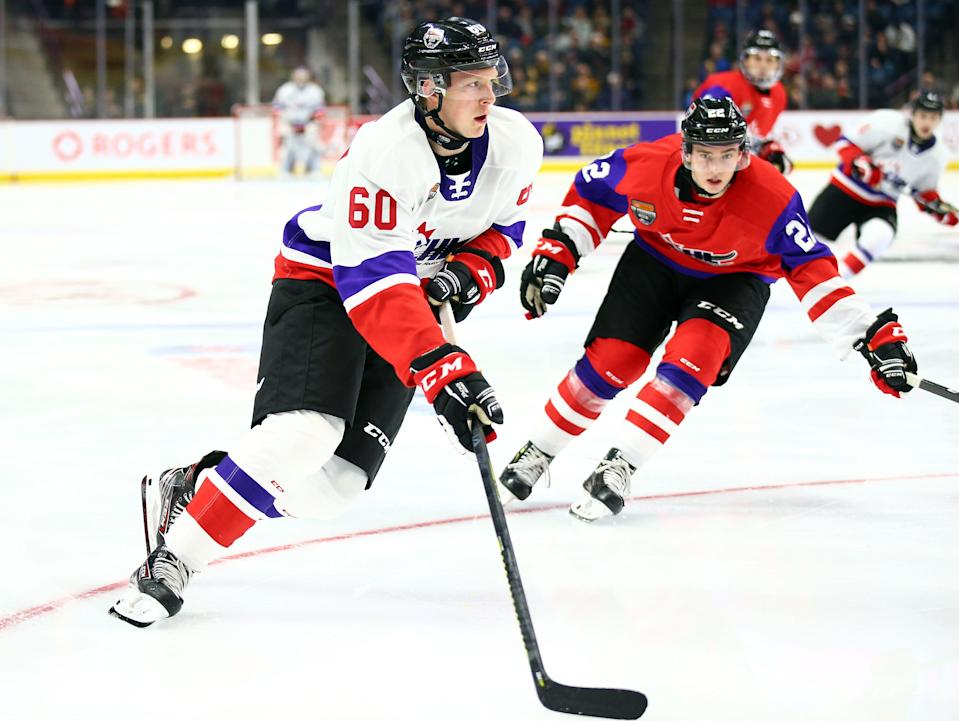 Luke Prokop (60) of Team White skates during the 2020 CHL/NHL Top Prospects Game against Team Red on Jan. 16, 2020 in Hamilton, Canada.