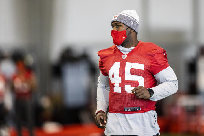 Tampa Bay Buccaneers inside linebacker Devin White during NFL football practice, Tuesday, Feb. 2, 2021 in Tampa, Fla. The Buccaneers will face the Kansas City Chiefs in Super Bowl 55. (Tori Richman/Tampa Bay Buccaneers via AP)