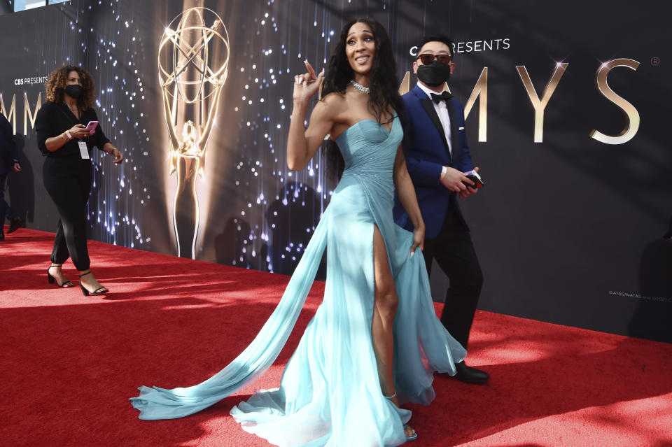 """Michaela Jae """"MJ"""" Rodriguez arrives at the 73rd Primetime Emmy Awards on Sunday, Sept. 19, 2021, at L.A. Live in Los Angeles. (AP Photo/Chris Pizzello)"""