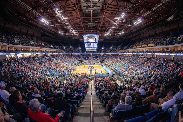 The 19,000-seat BOK Center in Tulsa typically hosts concerts and sporting events, like the NCAA Tournament in 2019.