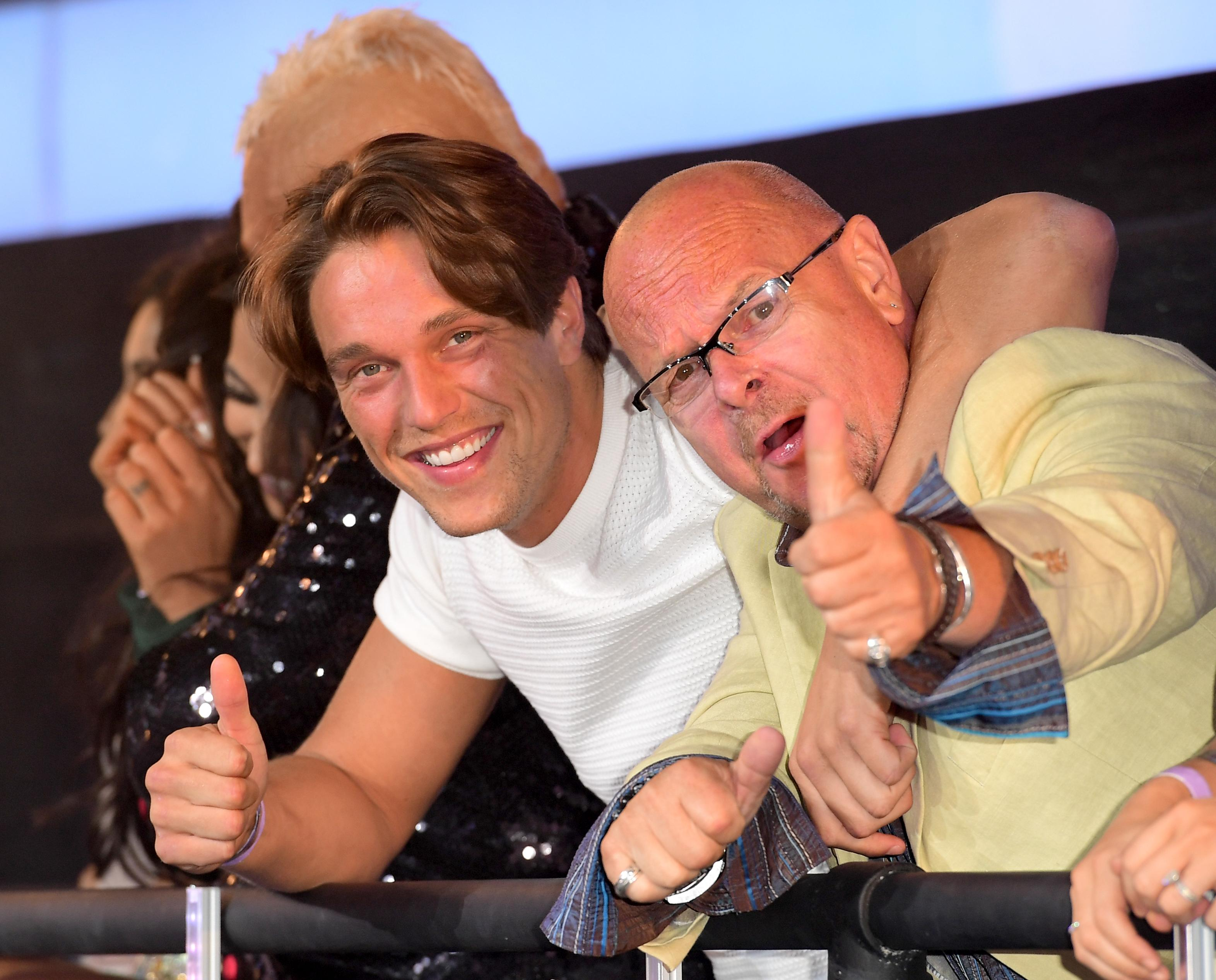 Lewis Bloor and James Whale during the live final of Celebrity Big Brother, at Elstree Studios, London.