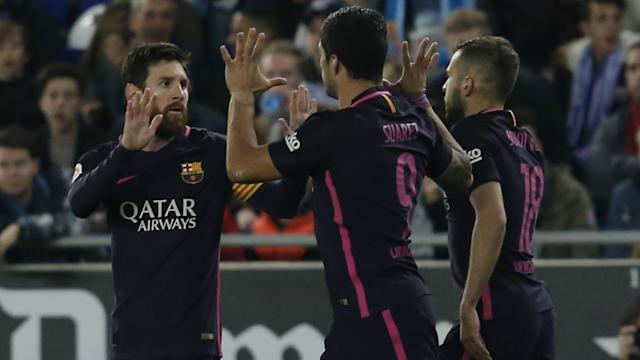 Encouraged by the convincing derby win over Espanyol, the Barca boss says side will give everything to win La Liga and Copa del Rey.