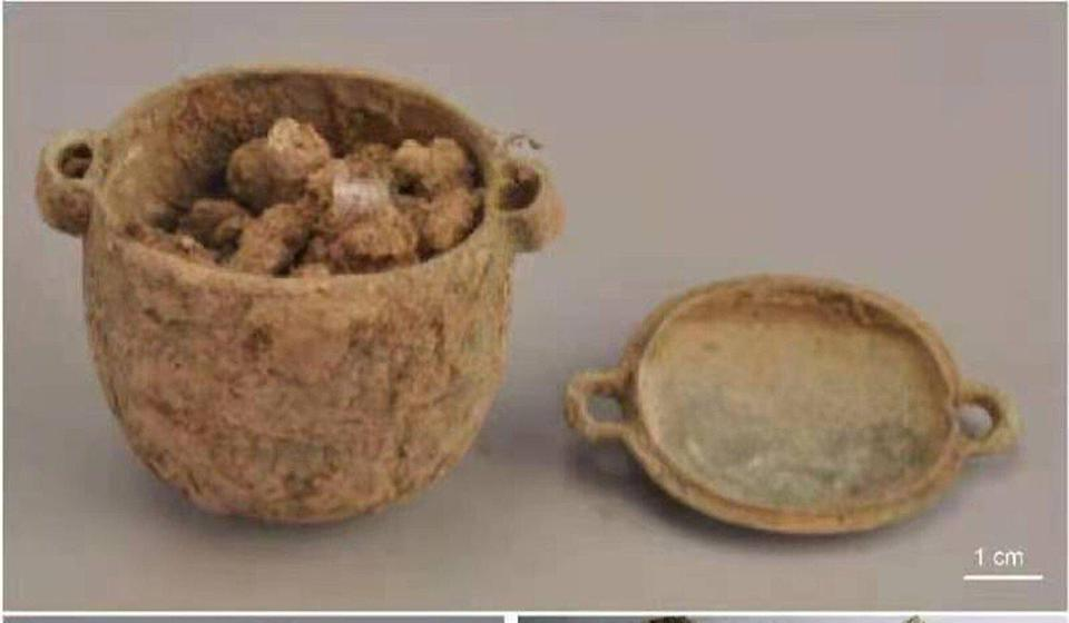 A jar of ancient skin-whitening cream was found in a grave in Shaanxi. Photo: University of the Chinese Academy of Sciences