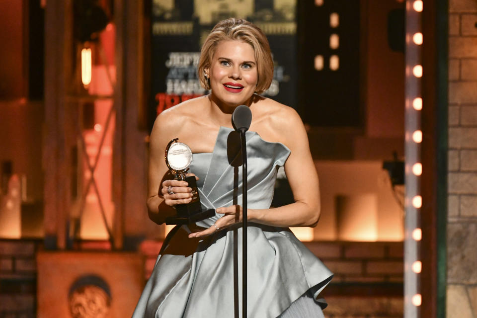 """FILE - In this Sunday, June 9, 2019, file photo, Celia Keenan-Bolger accepts the award for best performance by an actress in a featured role in a play for """"To Kill a Mockingbird"""" at the 73rd annual Tony Awards at Radio City Music Hall, in New York. Fans of the Broadway adaptation of """"To Kill a Mockingbird"""" will get a treat when the show restarts on Broadway in fall 2021, as Jeff Daniels and Keenan-Bolger, two of the play's original stars, are returning. (Photo by Charles Sykes/Invision/AP, File)"""