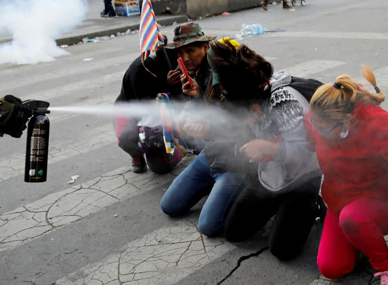 FILE PHOTO: Clashes between supporters of former Bolivian President Evo Morales and the security forces, in La Paz