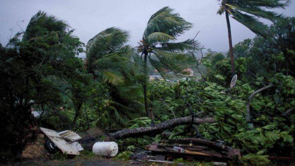 PHOTO: Powerful winds and rains from hurricane Maria as it batters the city of Petit-Bourg on the French Caribbean island of Guadeloupe, Sept. 19, 2017. (Cedrik-Isham Calvados/AFP/Getty Images)