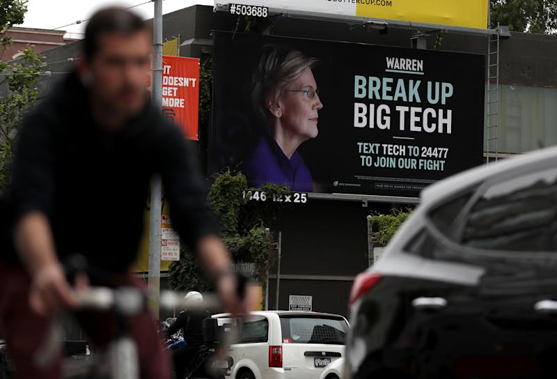 SAN FRANCISCO, CALIFORNIA - MAY 30: A billboard with an image of Democratic presidential hopeful U.S. Sen. Elizabeth Warren (D-MA) on May 30, 2019 in San Francisco, California. The presidential campaign for U.S. Sen. Elizabeth Warren posted a billboard in the South of Market Area of San Francisco that calls for breaking up big tech. (Photo by Justin Sullivan/Getty Images)