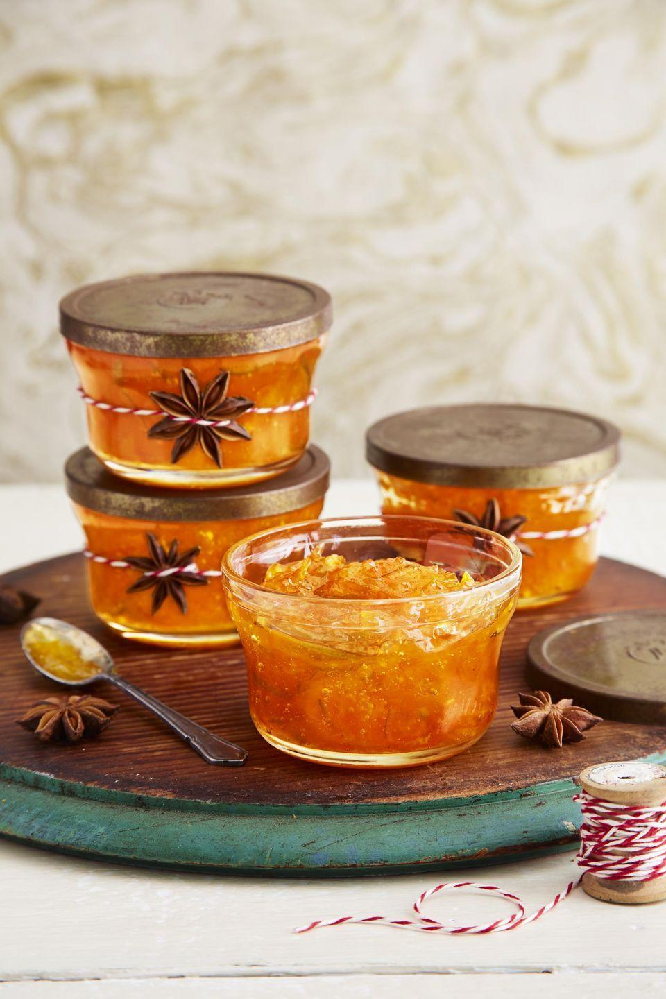 """<p>Flavored with ginger and star anise friends and loved one will be snacking on this marmalade into the new year.</p><p><strong><a href=""""https://www.countryliving.com/food-drinks/a34330744/citrus-marmalade/"""" rel=""""nofollow noopener"""" target=""""_blank"""" data-ylk=""""slk:Get the recipe"""" class=""""link rapid-noclick-resp"""">Get the recipe</a>.</strong></p><p><a class=""""link rapid-noclick-resp"""" href=""""https://www.amazon.com/Soeos-Anise-Seeds-Estrella-Chinese/dp/B071WQTK9J/ref=sr_1_1_sspa?tag=syn-yahoo-20&ascsubtag=%5Bartid%7C10050.g.645%5Bsrc%7Cyahoo-us"""" rel=""""nofollow noopener"""" target=""""_blank"""" data-ylk=""""slk:SHOP STAR ANISE"""">SHOP STAR ANISE</a></p>"""