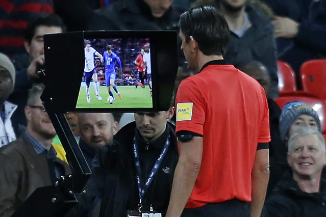Referees will be able to consult video replays and video assistant referees (VAR) during the 2018 World Cup. (Getty)