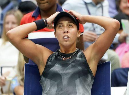 Sept 9, 2017; New York, NY, USA; Madison Keys of the USA after losing a second set game to Sloan Stephens of the USA in the Women's Final in Ashe Stadium at the USTA Billie Jean King National Tennis Center. Mandatory Credit: Robert Deutsch-USA TODAY Sports