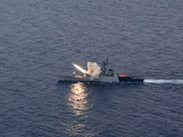 A visual of the Anti-Ship missile fired by the INS Kora.