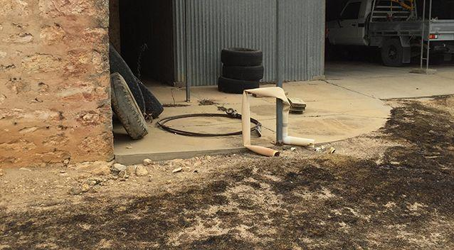 A downpipe melted at the property. Source: Supplied / Asha Crozier