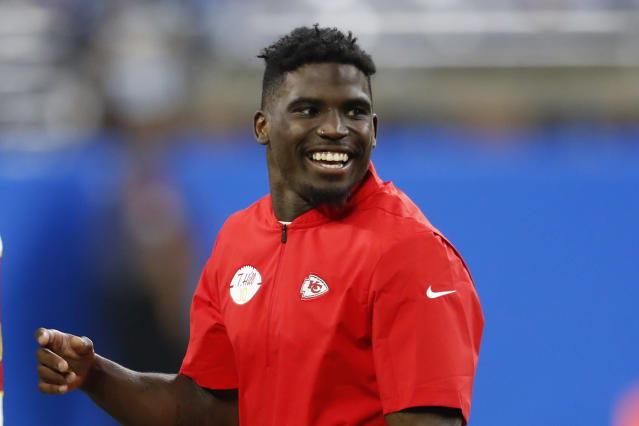 Kansas City Chiefs' Tyreek Hill smiles before an NFL football game against the Detroit Lions in Detroit, Sunday, Sept. 29, 2019. (AP Photo/Paul Sancya)