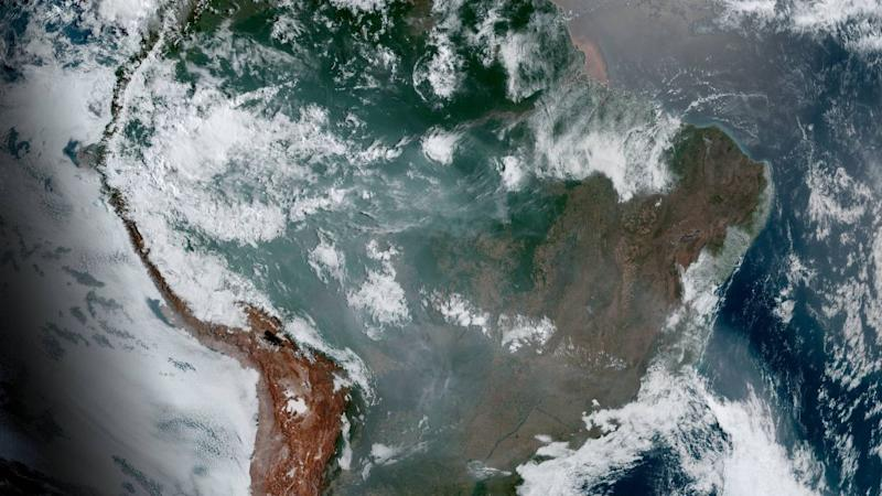 Satellite image of northern South America shows the smoke from wildfires this year in the Amazons.