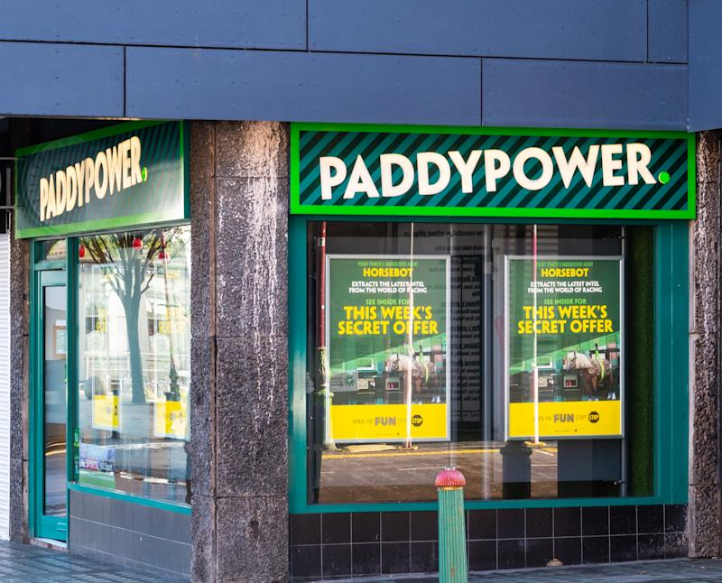 Birmingham, England - March 17 2019: The frontage of Paddy Power bookmakers in Hurst Street